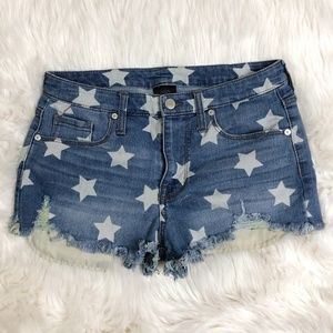 Mossimo Blue Denim White Stars Jean Shorts